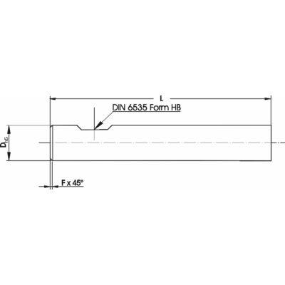 16 x 93 mm marószerszám h5 köszörüléssel, egy oldalon 0,7 x 45° letöréssel Weldon lapolással