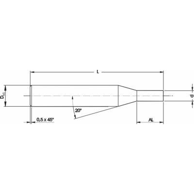 6 x 58 (1,55 x 3,5) mm mikro marószerszám h5 köszörüléssel, 0,5 x 45° letöréssel