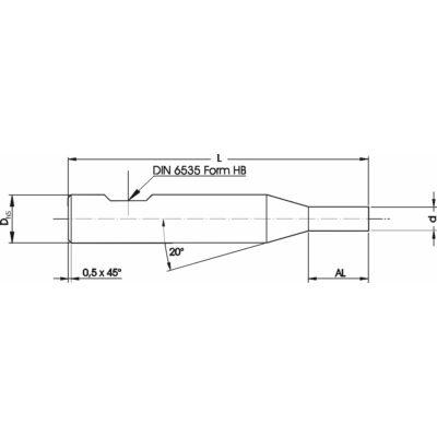 6 x 58 (1,55 x 3,5) mm mikro marószerszám h5 köszörüléssel, 0,5 x 45° letöréssel, Weldon lapolással