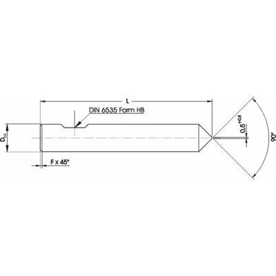 6 x 58 mm marószerszám h5 köszörüléssel, 90° csúccsal, 0,5 x 45° letöréssel