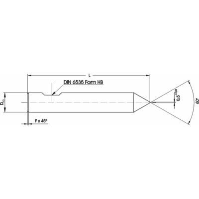 8 x 64 mm marószerszám h5 köszörüléssel, 60° csúccsal, 0,5 x 45° letöréssel, Weldon lapolással