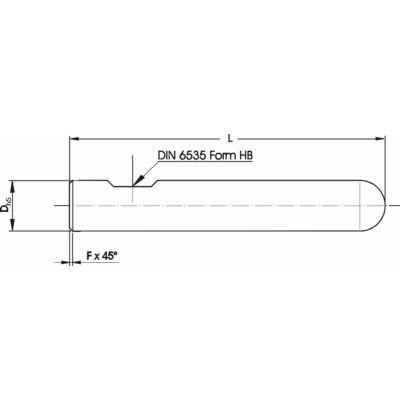 20 x 105 mm rádiuszos marószerszám h5 köszörüléssel, 1 x 45° letöréssel, Weldon lapolással