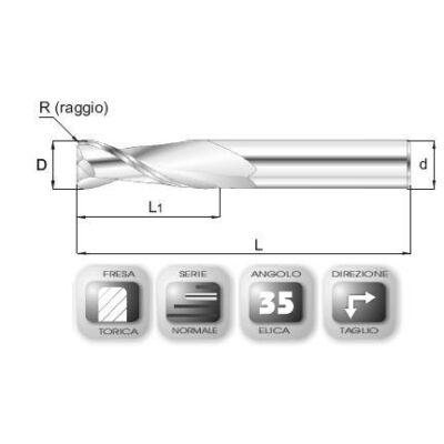12 x 26 mm, Keményfém maró, 64.35ALAV, 83 mm teljes hossz, 12 mm szár átmérő, és 1,5 mm sarokrádiusz