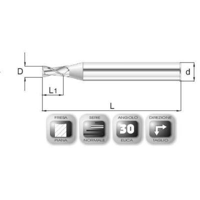 2 x 4 mm, Keményfém maró, 64-6, 50 mm teljes hossz, 6 mm szár átmérő