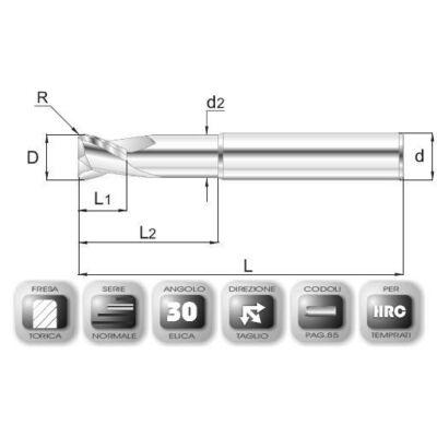 6 x 6 mm, Keményfém maró, 64AVSPEED, 58 mm teljes hossz, 6 mm szár átmérő, és 1 mm sarokrádiusz