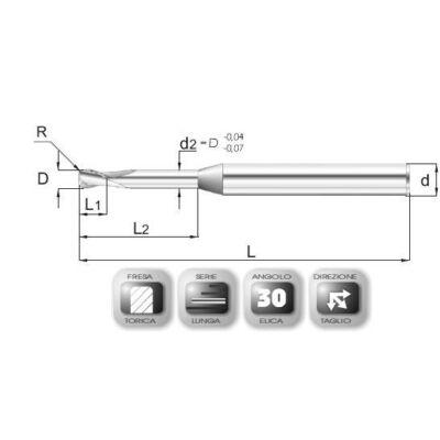 2,5 x 3,7 mm, Keményfém maró, 64MLAV, 55 mm teljes hossz, 4 mm szár átmérő, és 0,5 mm sarokrádiusz