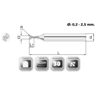 0,5 x 0,7 mm, Keményfém rádiuszmaró, 64R-3, 40 mm teljes hossz, 3 mm szár átmérő, és 0,25 mm sarokrádiusz