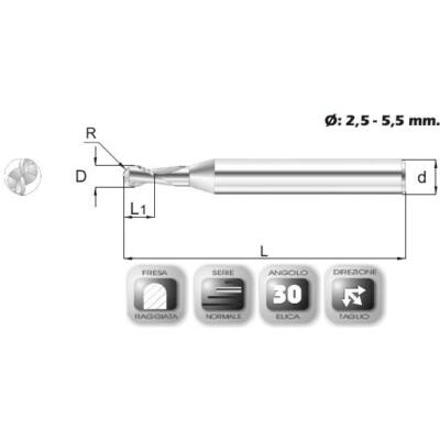 3 x 10 mm, Keményfém rádiuszmaró, 64R, 40 mm teljes hossz, 3 mm szár átmérő, és 1,5 mm sarokrádiusz