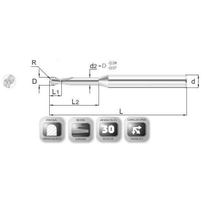 2,5 x 3,7 mm, Keményfém rádiuszmaró, hosszú 64R ML, 45 mm teljes hossz, (12mm-en aláköszörült) 4 mm szár átmérő, és 1,25 mm sarokrádiusz