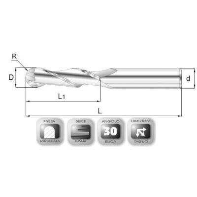 2 x 8 mm, Keményfém rádiuszmaró, hosszú, 64RSL, 60 mm teljes hossz, 2 mm szár átmérő, és 1 mm sarokrádiusz