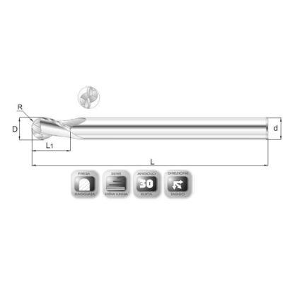 12 x 25 mm, Keményfém rádiuszmaró, extra hosszú 64RXSL, 160 mm teljes hossz, 12 mm szár átmérő, és 6 mm sarokrádiusz