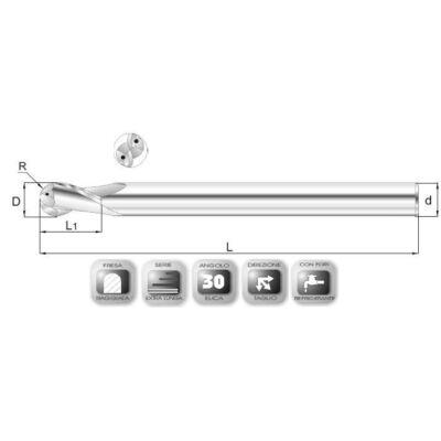 6 x 20 mm, Keményfém rádiuszmaró, extra hosszú, 64RXSLF IK, 120 mm teljes hossz, 6 mm szár átmérő, és 3 mm sarokrádiusz, belső hűtőcsatornával 2x30°