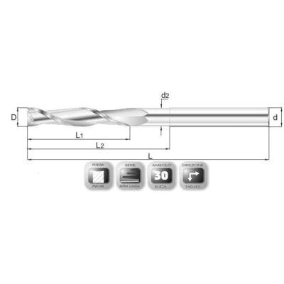 12 x 90 mm, VHM maró, 64ML, 180 mm teljes hossz, 12 mm szár átmérő
