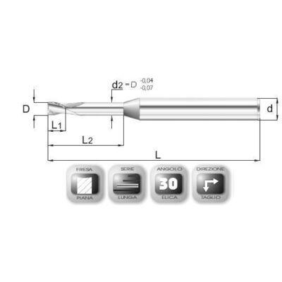 2,5 x 3,7 mm, VHM maró, 64ML, 45 mm teljes hossz, 4 mm szár átmérő