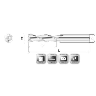 4 x 19 mm, Keményfém maró, hosszú, 64SL, 57 mm teljes hossz, 4 mm szár átmérő (462-1575)