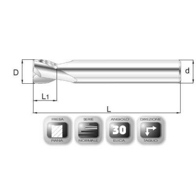 6 x 7 mm, Keményfém maró, 64SPEED, 54 mm teljes hossz, 6 mm szár átmérő