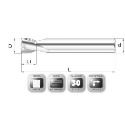 16 x 16 mm, Keményfém maró, 64SPEED, 83 mm teljes hossz, 16 mm szár átmérő