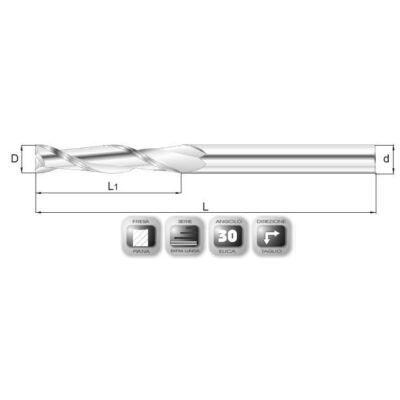 6 x 38 mm, Keményfém maró, extra hosszú, 64XSL, HP4822362, 100 mm teljes hossz, 6 mm szár átmérő