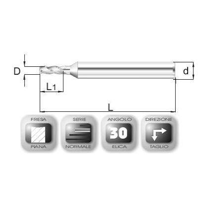 2 x 5,5 mm, Keményfém maró, 39 mm teljes hossz, 3 mm szár átmérő