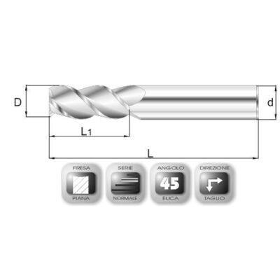 12 x 26 mm, Keményfém maró, 65.45 HE, 74 mm teljes hossz, 12 mm szár átmérő