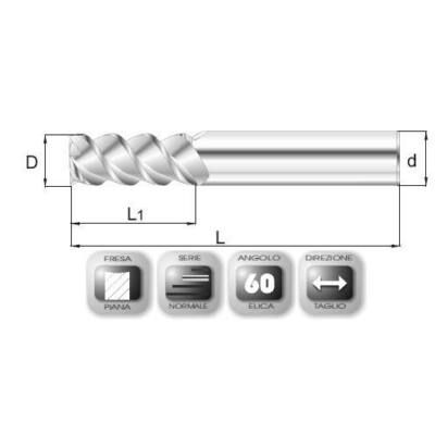 14 x 28 mm, Keményfém maró, 65.60 HSC, 76 mm teljes hossz, 14 mm szár átmérő