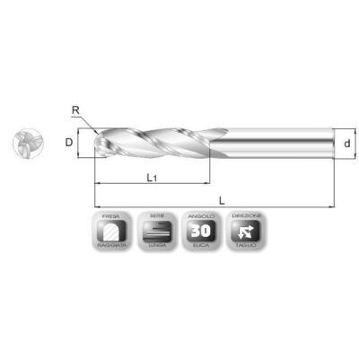3 x 16 mm, Keményfém rádiuszmaró, hosszú, 65RSL, 60 mm teljes hossz, 3 mm szár átmérő