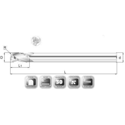 10 x 25 mm, Keményfém rádiuszmaró, extra hosszú, RXSL, 160 mm teljes hossz, 10 mm szár átmérő