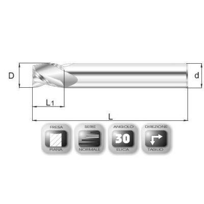 14 x 14 mm, Keményfém maró, 65SPEED, 76 mm teljes hossz, 14 mm szár átmérő