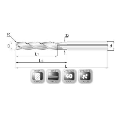 6 x 40 mm, Keményfém maró, extra hosszú,GR, 100 mm teljes hossz, 6 mm szár átmérő, és 0,3 mm sarokrádiusz