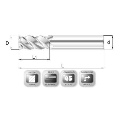 20 x 35 mm, Keményfém maró, 66.45, 93 mm teljes hossz, 20 mm szár átmérő
