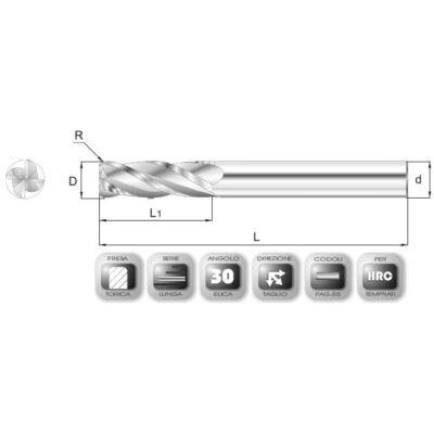 8 x 25 mm, Keményfém maró, TiAlN bevonattal, 80 mm teljes hossz, 8 mm szár átmérő, és 1 mm sarokrádiusz