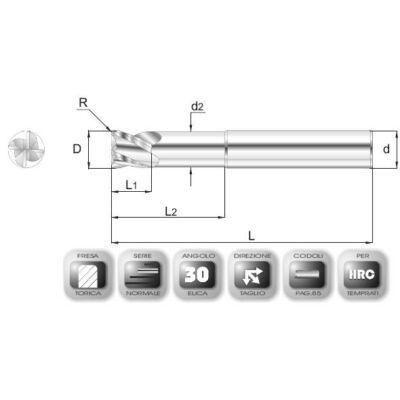 8 x 8 mm, Keményfém maró, 66AVSPEED, 64 mm teljes hossz, 8 mm szár átmérő, és 0,5 mm sarokrádiusz