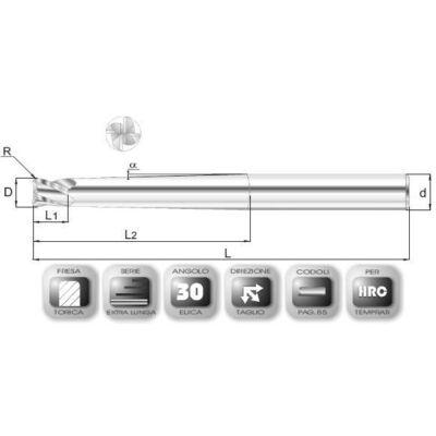 8 x 12 mm, Keményfém maró, extra hosszú, kúpos szárral (1°30'), 66CRLAV, 150 mm teljes hossz, (90mm-en kúposra köszörült) 12 mm szár átmérő, és 1 mm sarokrádiusz