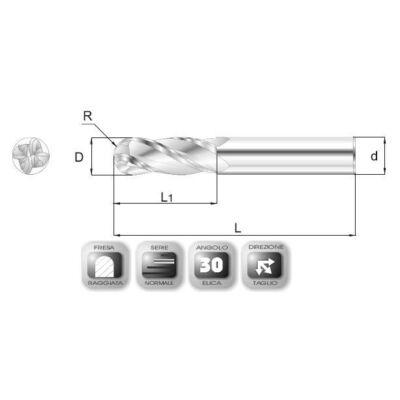 1 x 3 mm, Keményfém rádiuszmaró, 66R, 39 mm teljes hossz, 3 mm szár átmérő