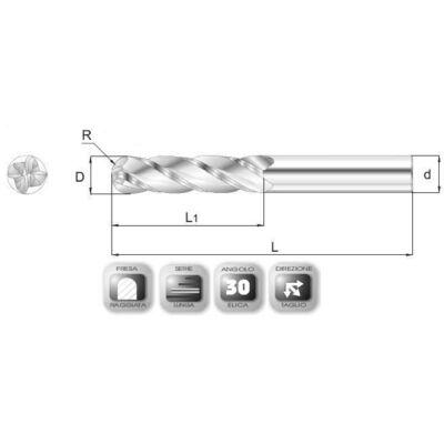 6 x 28 mm, Keményfém rádiuszmaró, hosszú, 66RSL, 76 mm teljes hossz, 6 mm szár átmérő