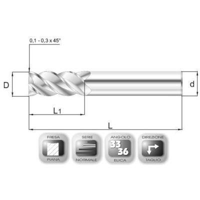 10 x 22 mm, Keményfém maró, 66SF, MV6, AlCrN bevonattal, 67 mm teljes hossz, 10 mm szár átmérő