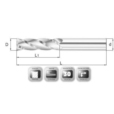 6 x 28 mm, Keményfém maró, hosszú, 66SL, 70 mm teljes hossz, 6 mm szár átmérő