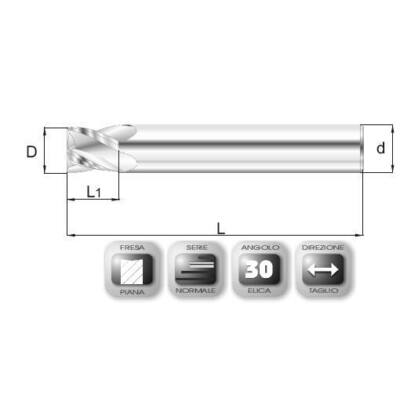 8 x 9 mm, Keményfém maró, 66SPEED HSC, 59 mm teljes hossz, 8 mm szár átmérő