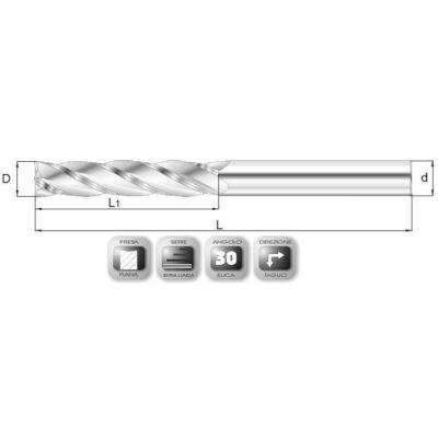 20 x 75 mm, Keményfém maró, extra hosszú, 66XSL, 150 mm teljes hossz, 20 mm szár átmérő