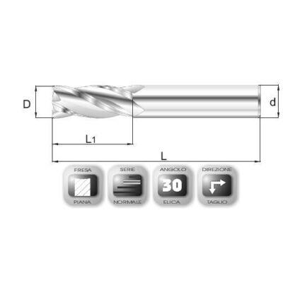 2 x 8 mm, Keményfém maró, 66, TiAlN bevonattal, 40 mm teljes hossz, 2 mm szár átmérő