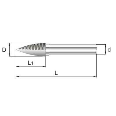 6 x 14 mm, Keményfém rotormaró, gúla, 44 mm teljes hossz, 3 mm szár átmérő
