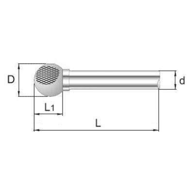 5 x 4 mm, Keményfém rotormaró, gömb, 34 mm teljes hossz, 3 mm szár átmérő
