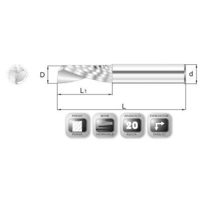4 x 14 mm, Keményfém maró, MAP, 40 mm teljes hossz, 4 mm szár átmérő