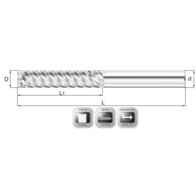 16 x 65 mm, Keményfém maró, 45°-os hornyokkal, MD45, 120 mm teljes hossz, 16 mm szár átmérő