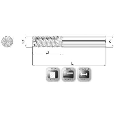 3 x 10 mm, Keményfém maró, 45°-os hornyokkal, MD45, 58 mm teljes hossz, 6 mm szár átmérő