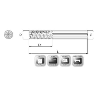 20 x 45 mm, Keményfém maró, SF45, 105 mm teljes hossz, 20 mm szár átmérő
