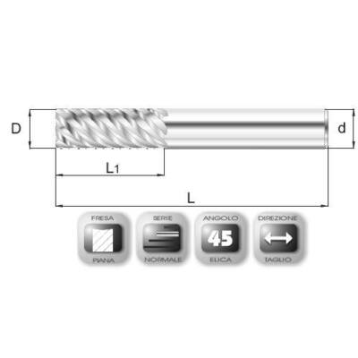 8 x 19 mm, Keményfém maró, SF45 CERMET, 59 mm teljes hossz, 8 mm szár átmérő