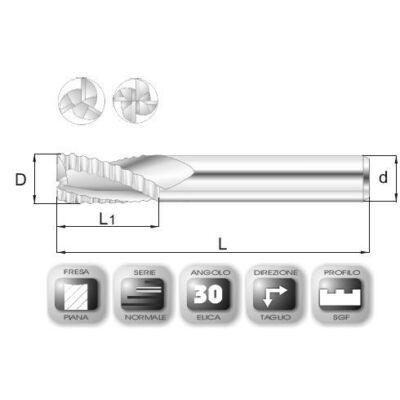 12 x 26 mm, Keményfém nagyoló maró, SGF, 74 mm teljes hossz, 12 mm szár átmérő