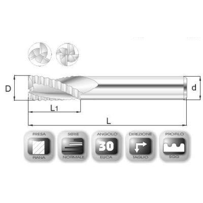 12 x 26 mm, Keményfém nagyoló maró, SGG, 74 mm teljes hossz, 12 mm szár átmérő