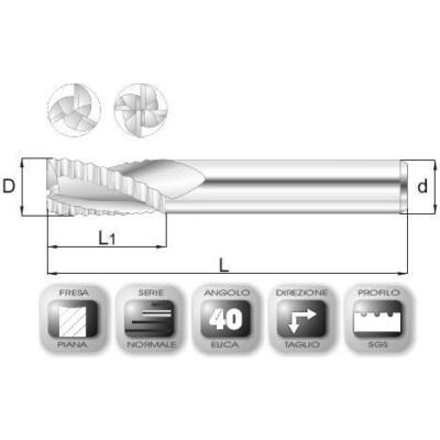 8 x 19 mm, Keményfém nagyoló maró, SGS, 59 mm teljes hossz, 8 mm szár átmérő